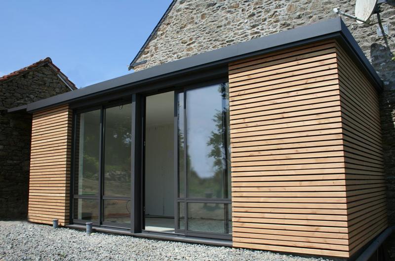 extension toit plat, isolation et bardage en bois